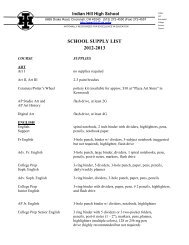 School Supplies List for 2012-13 - Indian Hill School District