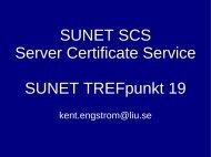 SUNET SCS Server Certificate Service SUNET TREFpunkt 19