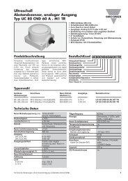 Ultraschall Abstandssensor, analoger Ausgang ... - Carlo Gavazzi AG