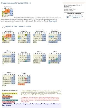 Calendario escolar curso 2010-11 - Resad