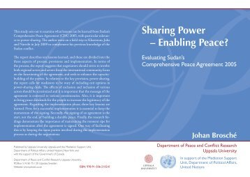 Sharing Power - Enabling Peace? Evaluating Sudan - UCDP