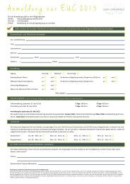 Anmeldung zur EUC 2013 - Trapeze Group