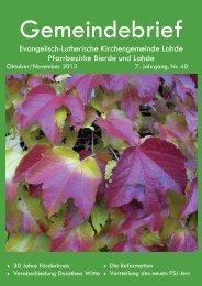 Evangelisch-Lutherische Kirchengemeinde Lahde Pfarrbezirke ...