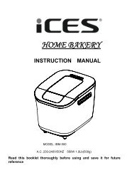 HOME BAKERY INSTRUCTION MANUAL - Ices Electronics