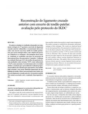 avaliação pelo protocolo do IKDC - Portal Saude Brasil . com