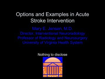 Options and Examples in Acute Stroke Intervention - Bon Secours ...