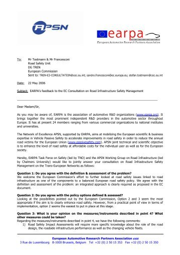 Answer EC Consultation on Road Infrastructure Safety, 22 ... - EARPA