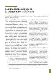 Les dimensions négligées du changement organisationnel