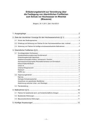 Erläuterungsbericht zur Verordnung über die Festlegung von ...