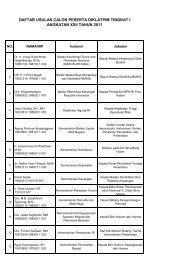 daftar usulan calon peserta diklatpim tingkat i angkatan xxii tahun ...