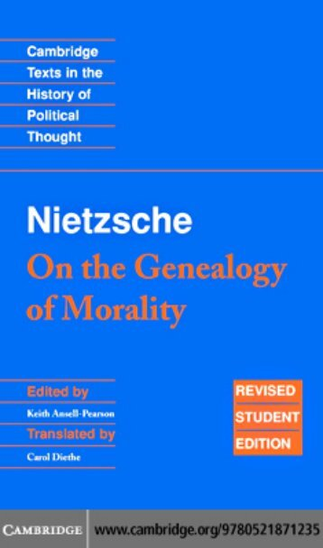 FRIEDRICH NIETZSCHE: On the Genealogy of Morality