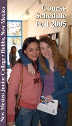 Fall 2002 Schedule - New Mexico Junior College