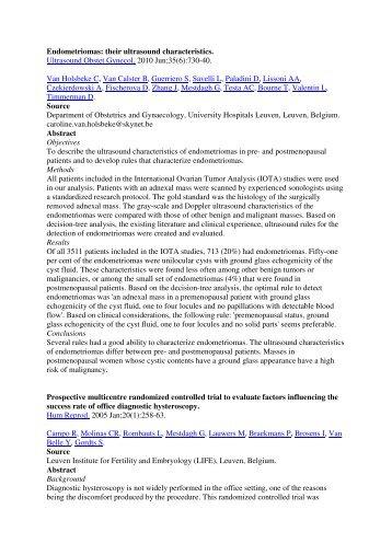 Endometriomas: their ultrasound characteristics. Ultrasound Obstet ...