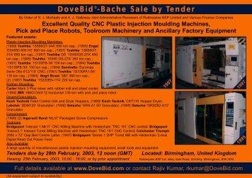 DoveBid®-Bache Sale by Tender