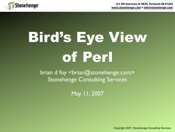 Bird's Eye View of Perl