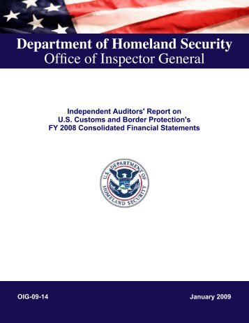 Independent Auditors' Report on U.S. Customs and Border ...