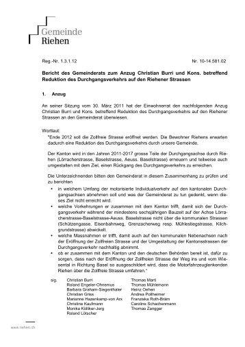 Bericht des Gemeinderats zum Anzug Christian Burri und ... - Riehen