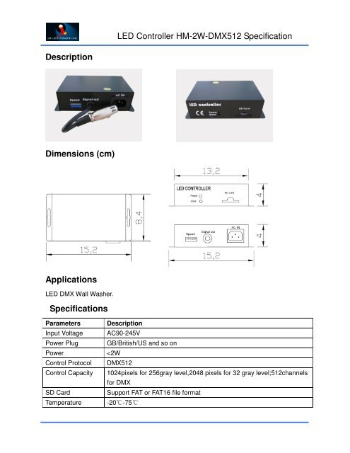 Led Controller Hm 2w Dmx512 Specification Sign Lighting World