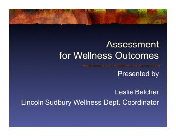 Assessment for Wellness Outcomes - LS Home Page