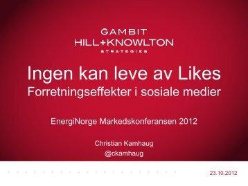 Christian H. F. Kamhaug, GAMBIT H + K - Energi Norge