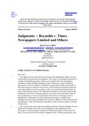Judgments -- Reynolds v. Times ewspapers Limited and Others