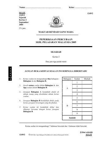 peperiksaan percubaan sijil pelajaran malaysia 2005 - Tripod