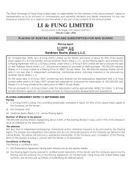 Placing of Existing Shares and Subscription for New ... - Li & Fung