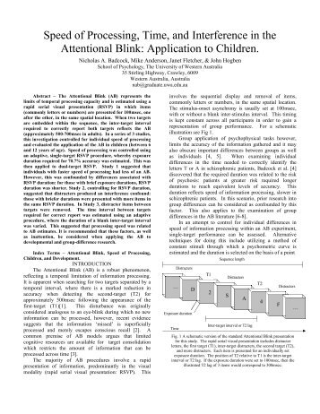 Speed of Processing, Time, and Interference in the Attentional Blink ...