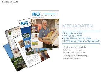 Download Mediadaten - RiQ DAS MAGAZIN