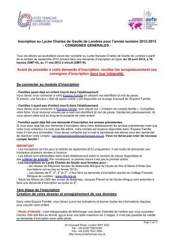 Inscription au Lycée Charles de Gaulle de Londres pour l'année ...