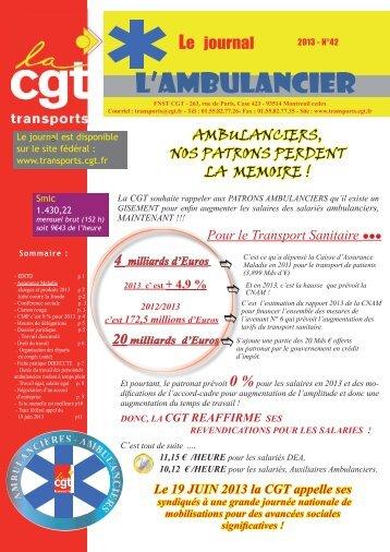 L'ambulancier N° 42.indd - Fédération CGT des transports - La cgt