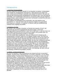 Haftungsausschluss 1. Inhalt des Onlineangebotes Der ... - Kastner