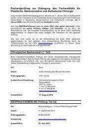 Facharztprüfung zur Erlangung des Facharzttitels für Plastische ...