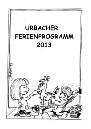URBACHER FERIENPROGRAMM 2013 - Gemeinde Urbach