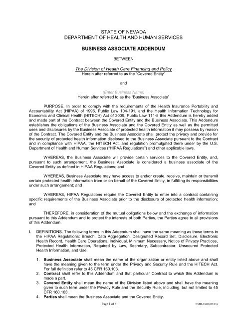 Business Associate Addendum (NMH-3820) - State of Nevada
