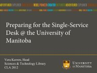 Preparing for the Single-Service Desk @ the University of Manitoba