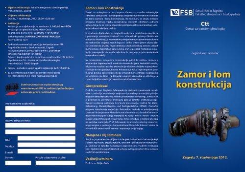 Zamor i lom konstrukcija - FSB - Sveučilište u Zagrebu