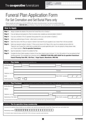 Funeral Plan Application Form - The Co-operative