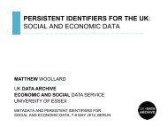 PERSISTENT IDENTIFIERS FOR THE UK: social ... - UK Data Archive