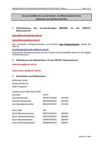 Anlage 4 Adressen und Ansprechpartner - WSW Netz-GmbH!