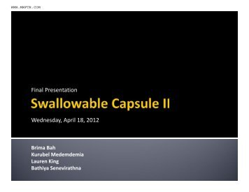 Final Presentation Wednesday, April 18, 2012 - MWFTR