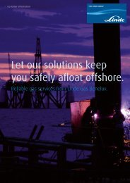 Let our solutions keep you safely afloat offshore. - Linde Gas Benelux