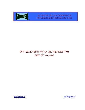 Instructivo de Presentación Ley Nº 16.744 - Sigweb