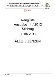 Ausgabe 4 / 2012 Rangliste Stichtag 30.06.2012 ALLE LIZENZEN