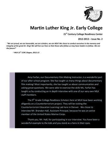 Downloadable MLK Newsletter - Issue 2 - Center for Urban Education