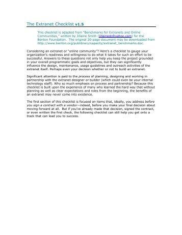 The Extranet Checklist v1.5 - Psychotherapist
