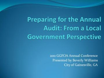 Preparing for the Annual Audit: From a Local Government Perspective