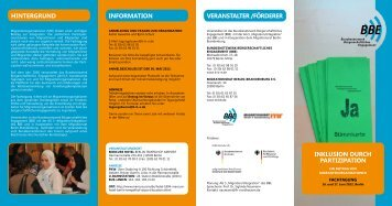 Flyer MO-Tagung 2012 Inklusion durch Partizipation - BBE
