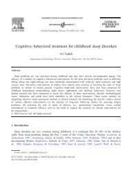 Cognitive–behavioral treatment for childhood sleep disorders
