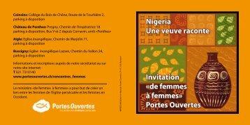 Nigeria Une veuve raconte Invitation «de femmes à femmes» Portes ...